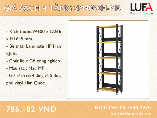 Giá sách 4 tầng SM4050H-MB