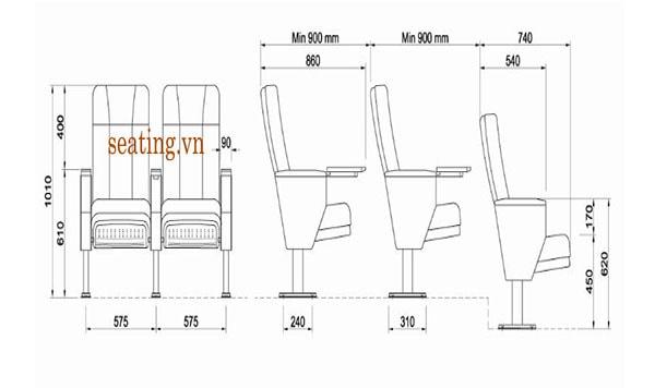 Tiêu chuẩn kích thước ghế hội trường dành cho giảng đường