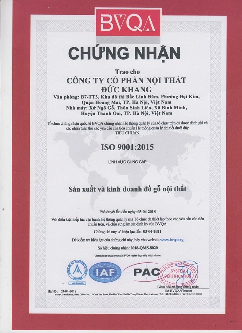 chứng nhận Đức Khang