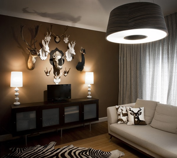 Không nên đặt đầu, sừng, da động vật hay hoa khô trong phòng khách