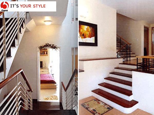 Thiết kế cầu thang nhà ống lệch giữa các tầng
