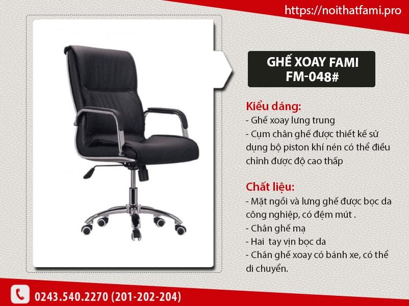 Ghế xoay giám đốc Fami FM-048# - Sang trọng và đẳng cấp