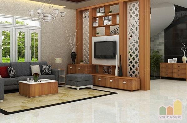 Vách ngăn gỗ sẽ tạo điểm nhấn cho căn phòng khách nhà bạn