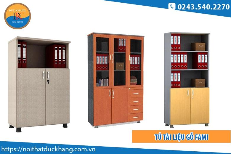 Tủ tài liệu gỗ Fami thiết kế sang trọng, hiện đại