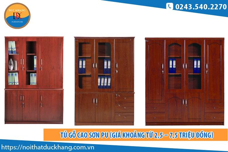 Tủ gỗ cao sơn PU (Giá khoảng từ 2,5 – 7,5 triệu đồng)