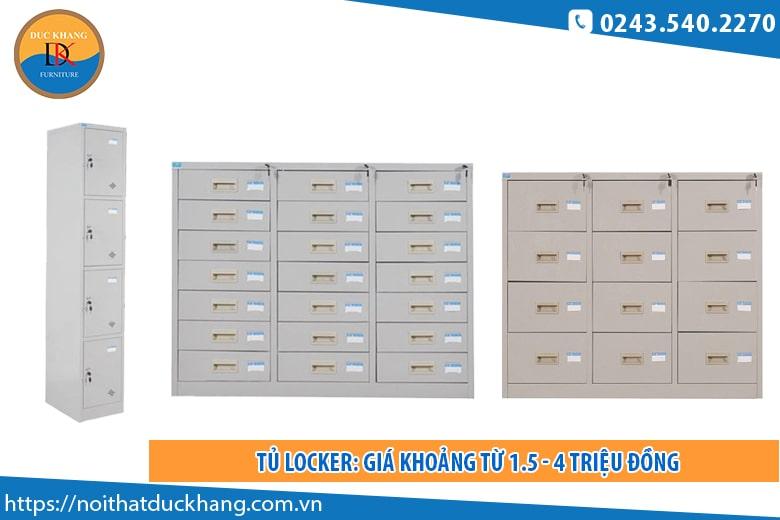 Tủ locker: Giá khoảng từ 1.5 - 4 triệu đồng
