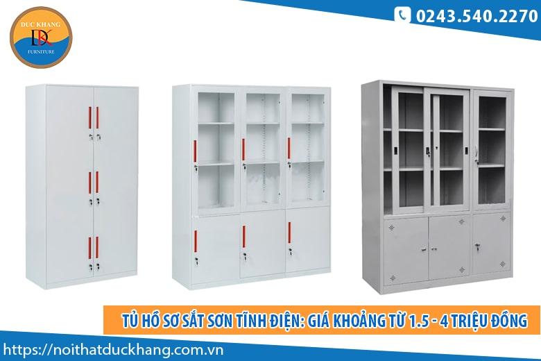 Tủ hồ sơ sắt sơn tĩnh điện: Giá khoảng từ 1.5 - 4 triệu đồng